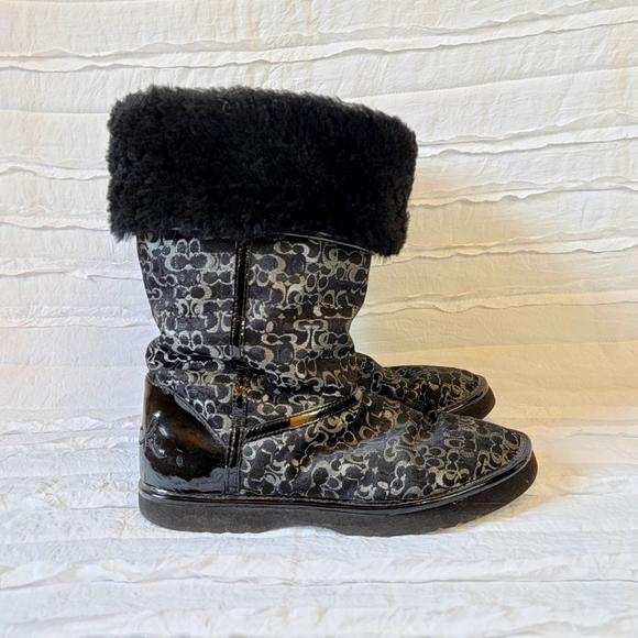 "Coach ""Nikole"" fur lined flip over winter boots"
